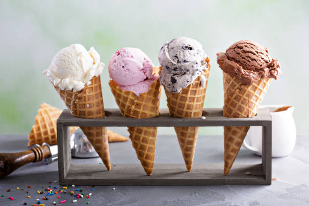 variety of ice cream cones - seasoning stock photos and pictures