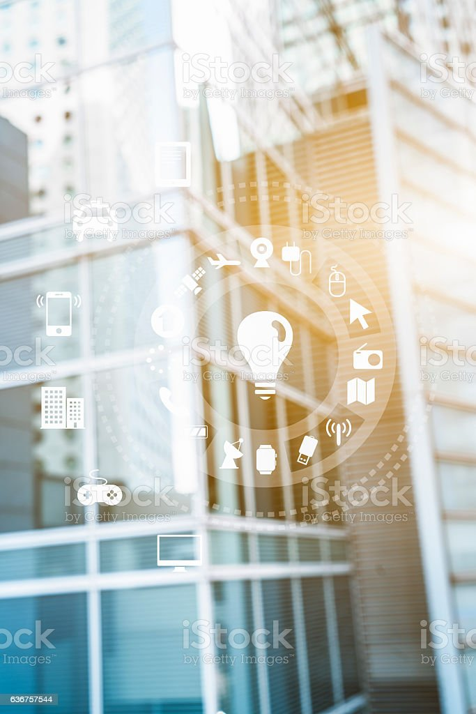 variety of icons with modern building background stock photo