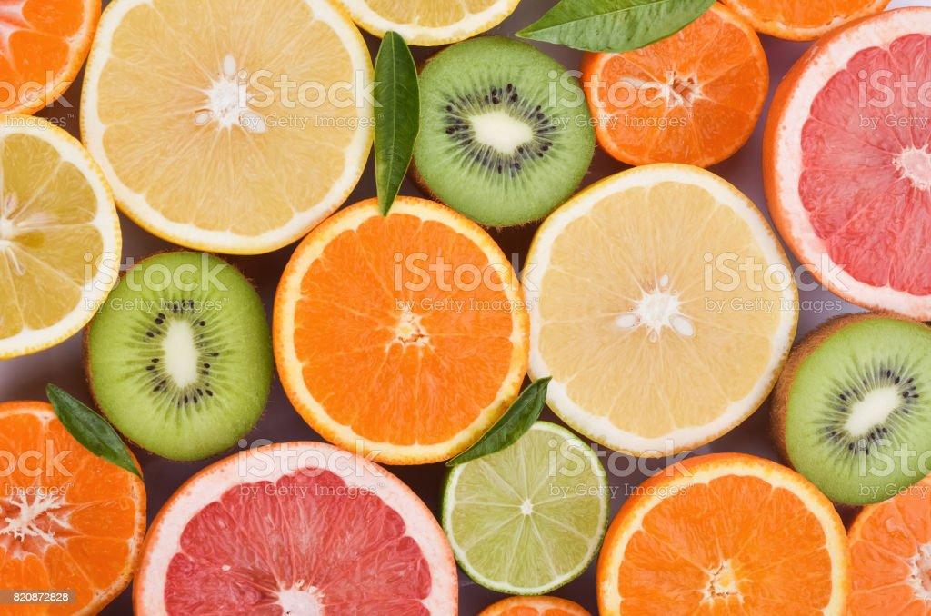 variety of juicy citrus fruits stock photo