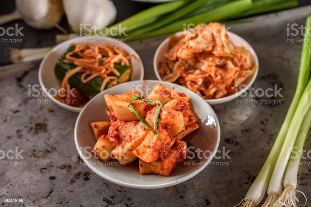 Variety of Kimchee stock photo