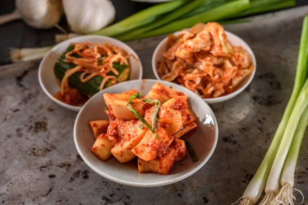 Variety of Kimchee Kimchees made of diffrent type of vegetables kimchee stock pictures, royalty-free photos & images