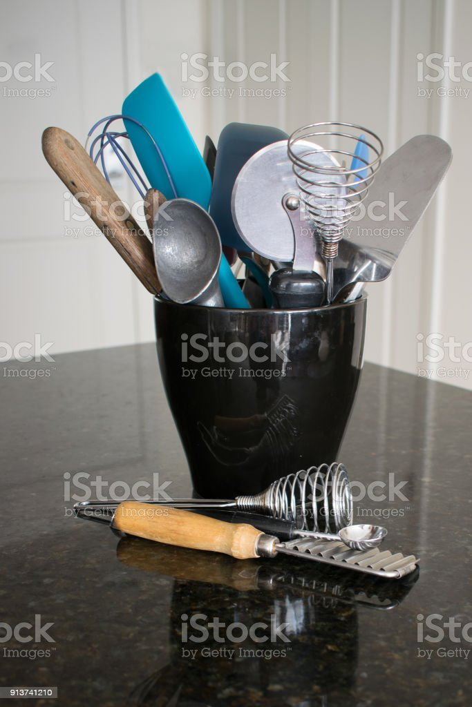 A Variety Of Kitchen Utensils In Black Container Stock Photo Download Image Now Istock