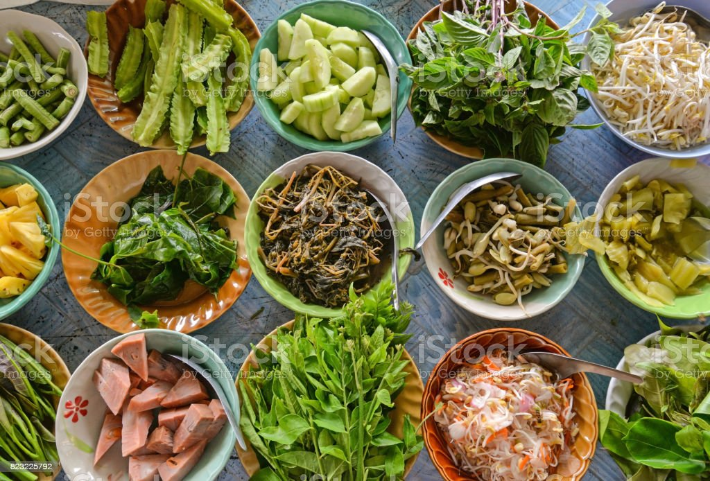 Variety of  local vegetables (Thai Southern style) stock photo