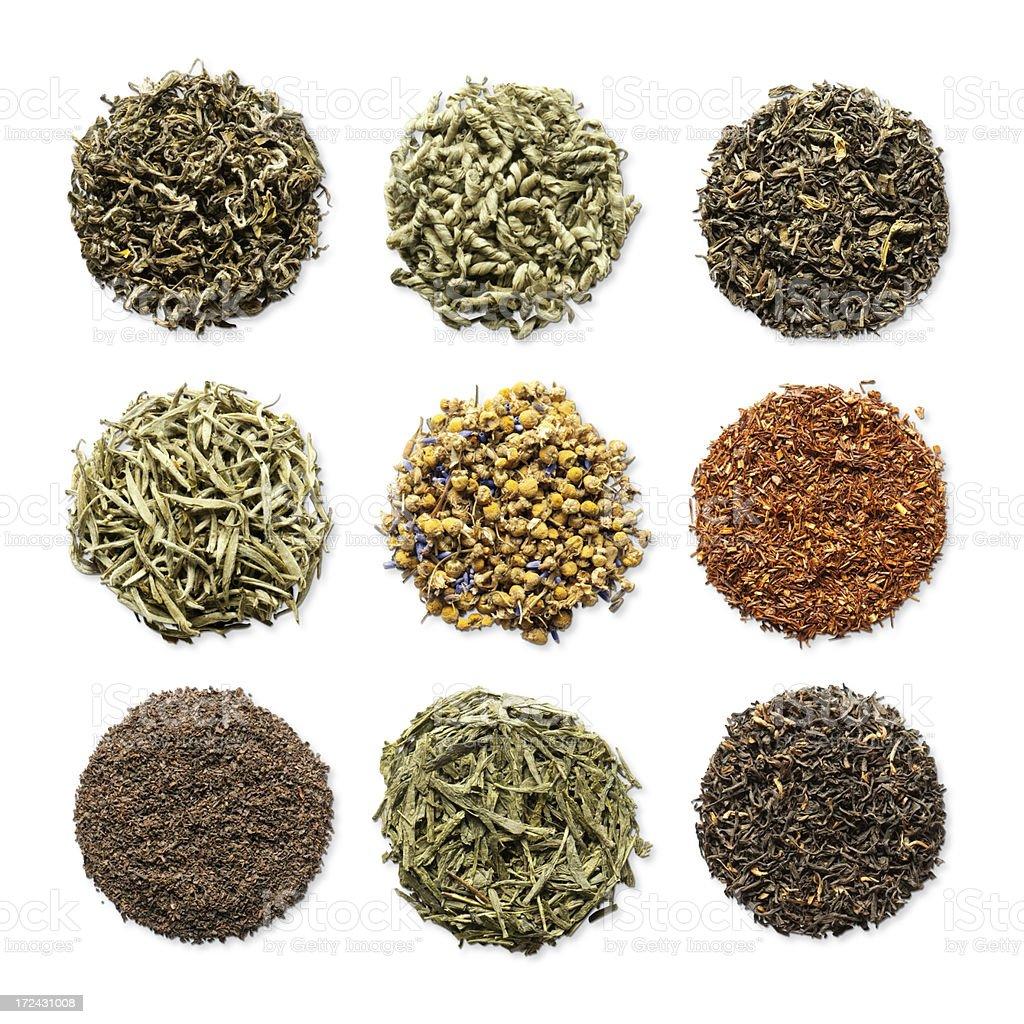 Variety of loose leaf herbal teas in round piles stock photo