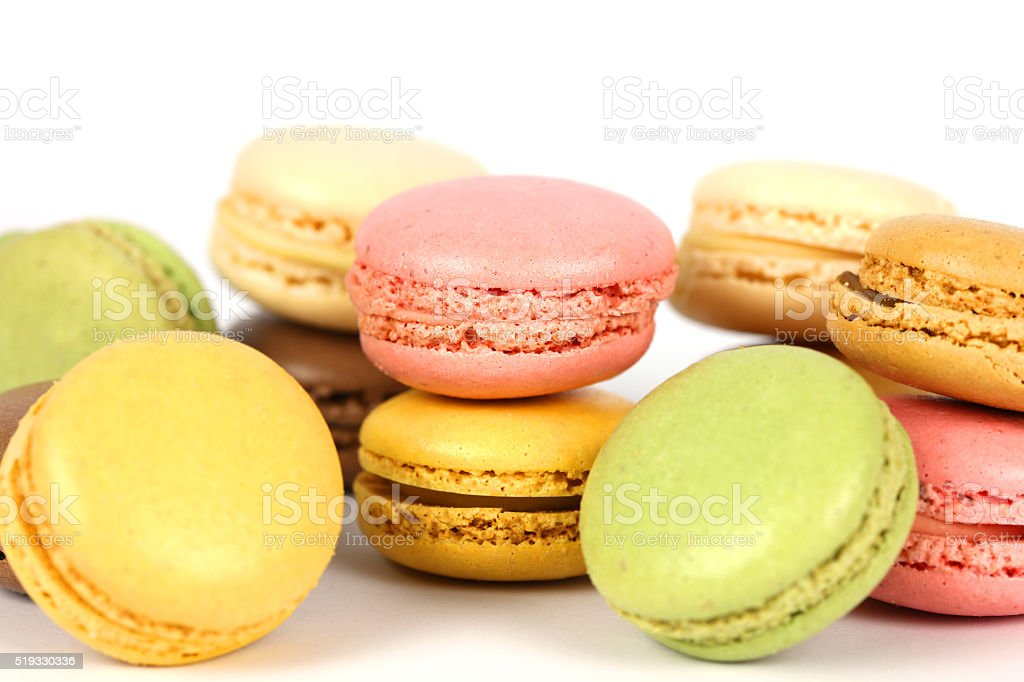 Variety of Macaroons on White Background stock photo