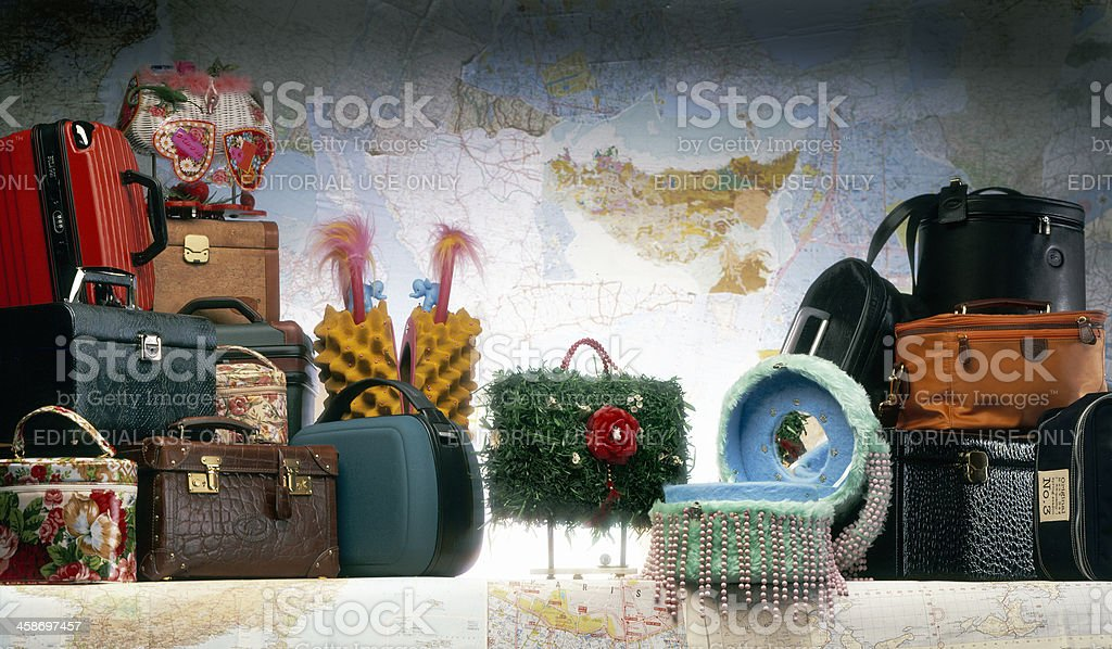 variety of make-up boxes royalty-free stock photo
