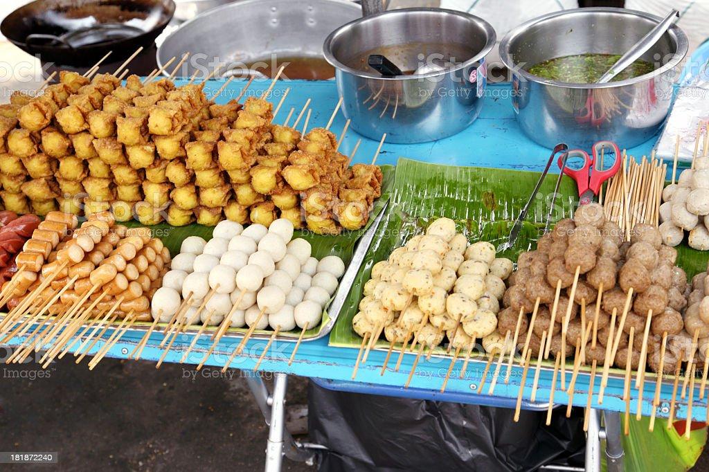 Variety of meat at weekend market in Bangkok royalty-free stock photo