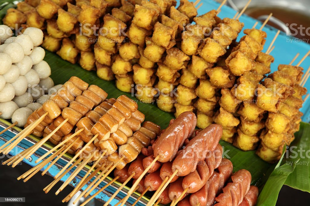 Variety of meat at weekend market in Bangkok royalty-free stock photo