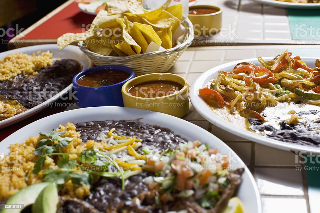 variety of mexican food royalty free stockfoto