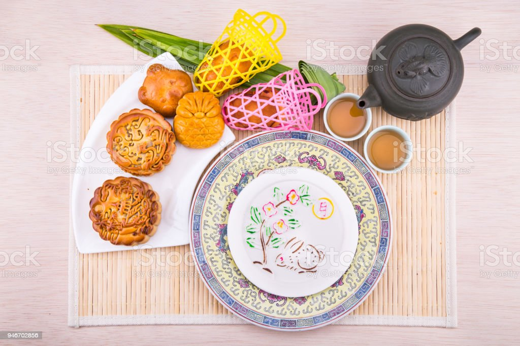 Variety of mooncakes for Chinese mid-autumn festival celebration stock photo