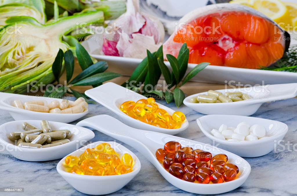 Variety of nutritional supplements. stock photo