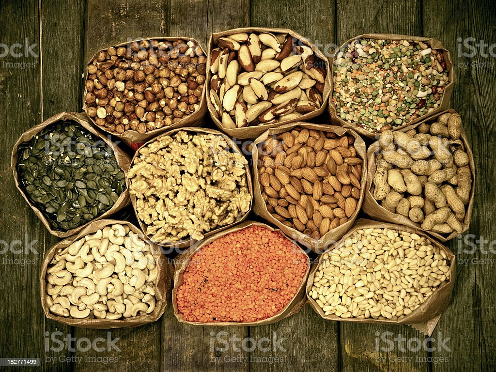 Variety of nuts stock photo