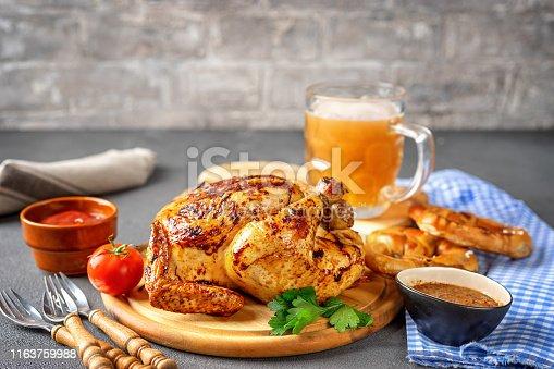 istock Variety of oktoberfest food on rustic background 1163759988