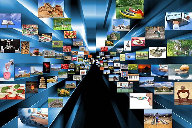 auswahl an fotos als hintergrund. - film oder fernsehvorführung stock-fotos und bilder