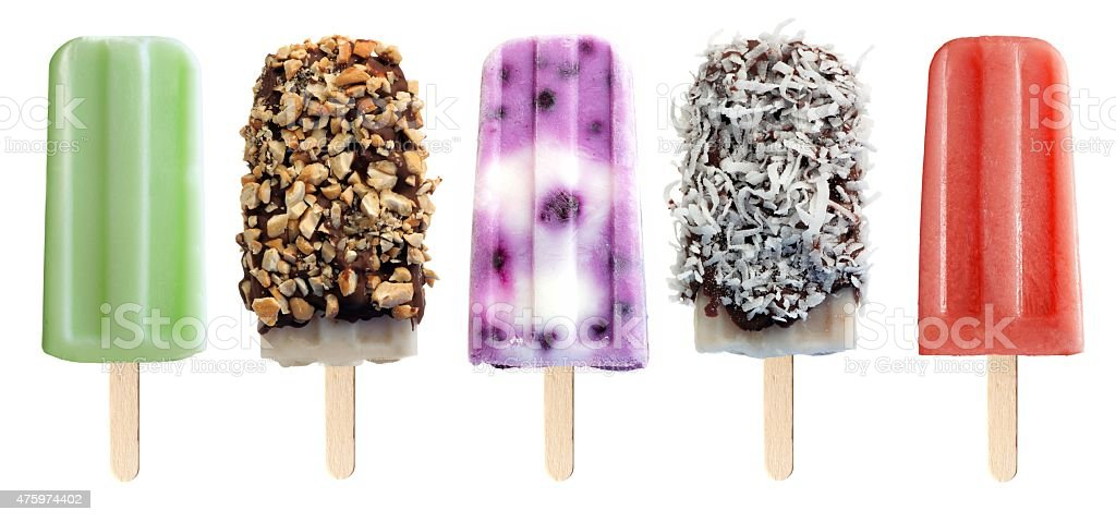 Variety of popsicles isolated on white stock photo