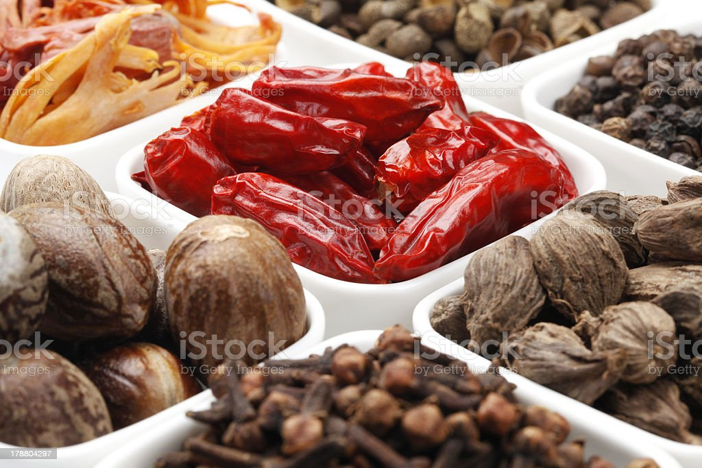 Variety of raw Authentic Indian Spices. royalty-free stock photo