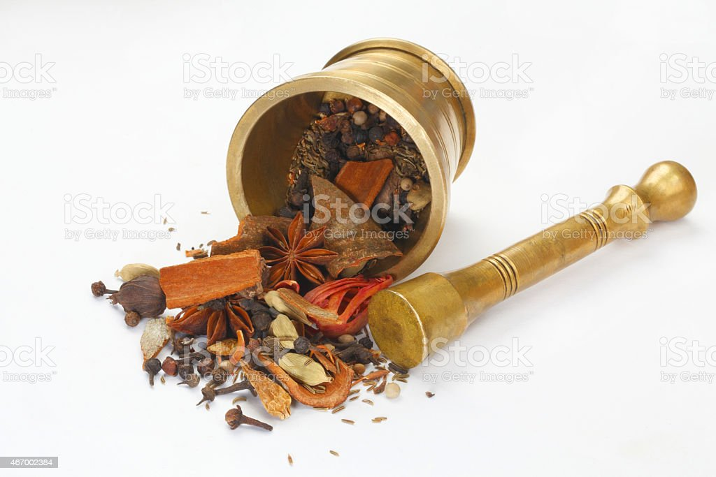 Variety of raw Authentic Indian Spices stock photo