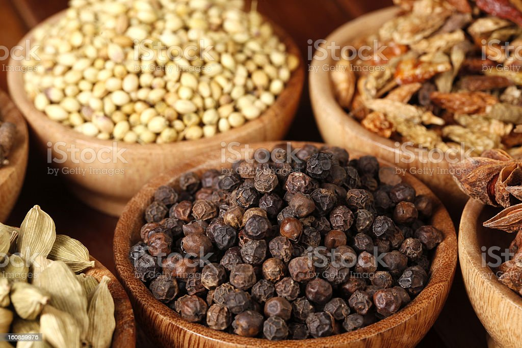 Variety of raw Indian Spices royalty-free stock photo