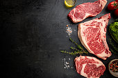 istock Variety of Raw Meat Steaks 1288461867