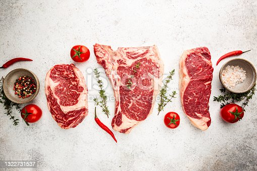 istock Variety of Raw Meat Steaks 1322731537