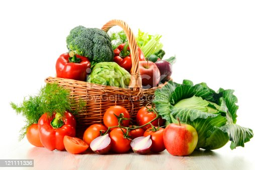 istock Variety of raw vegetables in wicker basket isolated on white 121111336