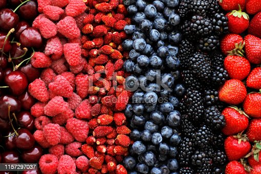 841659594 istock photo Variety of ripe fresh colorful berries in a row 1157297037