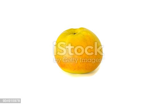 Variety of ripe red apples Luna isolate white background. Procurement under the inscription and illustration
