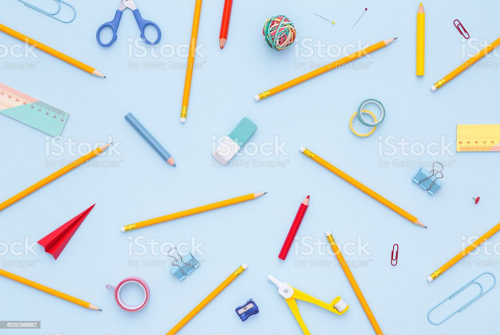 Variety of school supplies. Back to school concept.