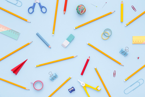 istock Variety of school supplies. Back to school concept. 603298882