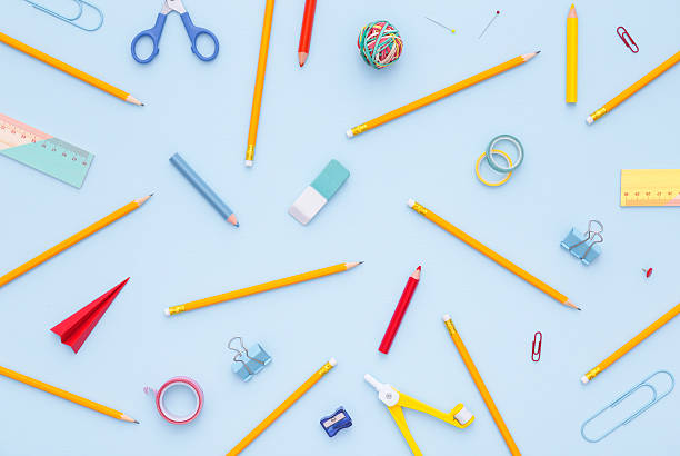 Variety of school supplies. Back to school concept. stock photo