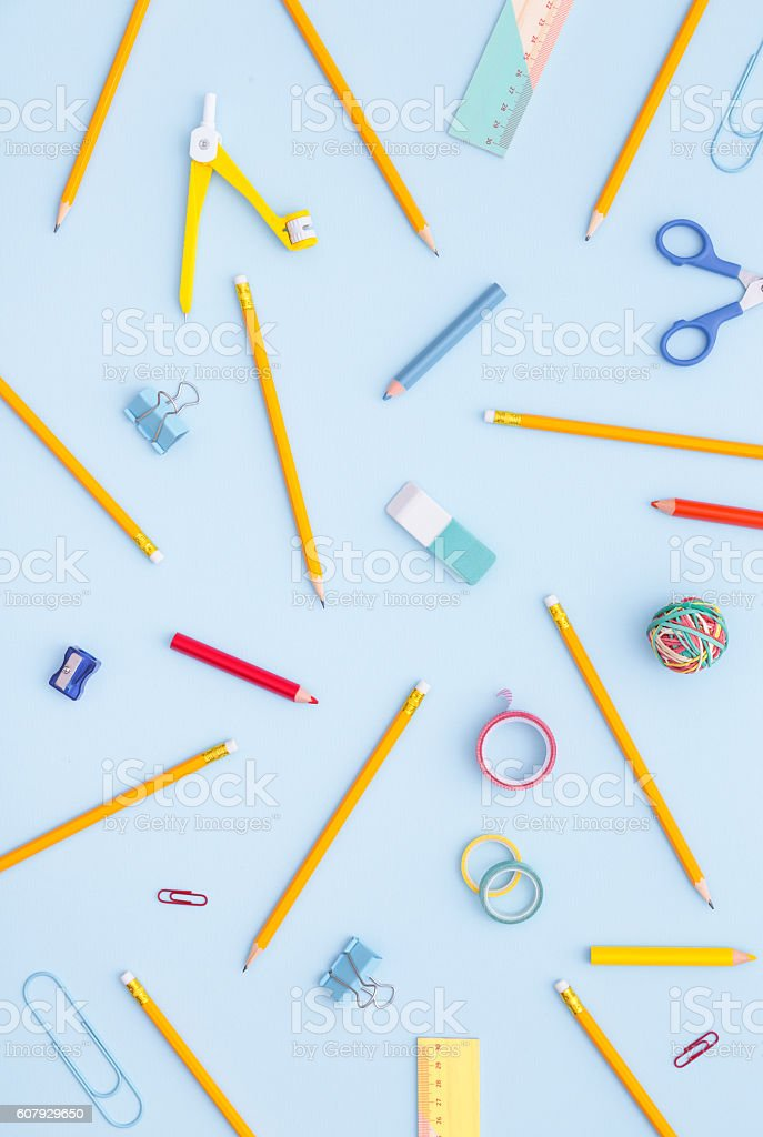 Variety of school supplies. Back to school concept. ストックフォト