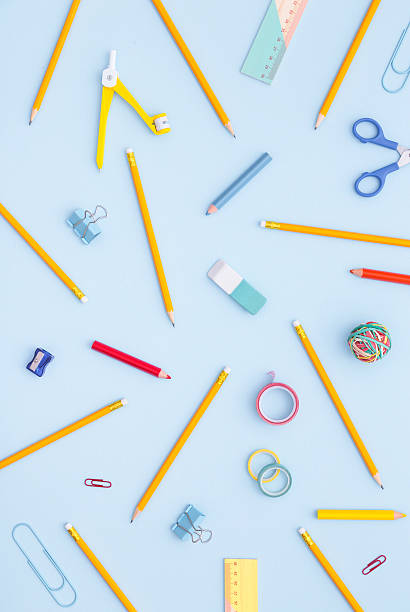 Variety of school supplies. Back to school concept. Variety of school supplies. Back to school concept. Directly above. knolling concept stock pictures, royalty-free photos & images