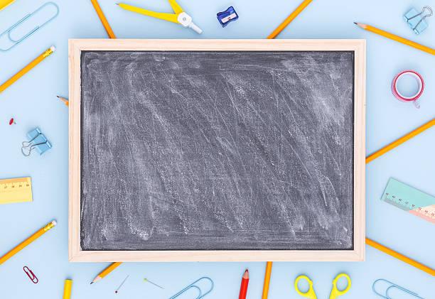 variety of school supplies with blank blackboard. back to school. - 学校の文房具 ストックフォトと画像