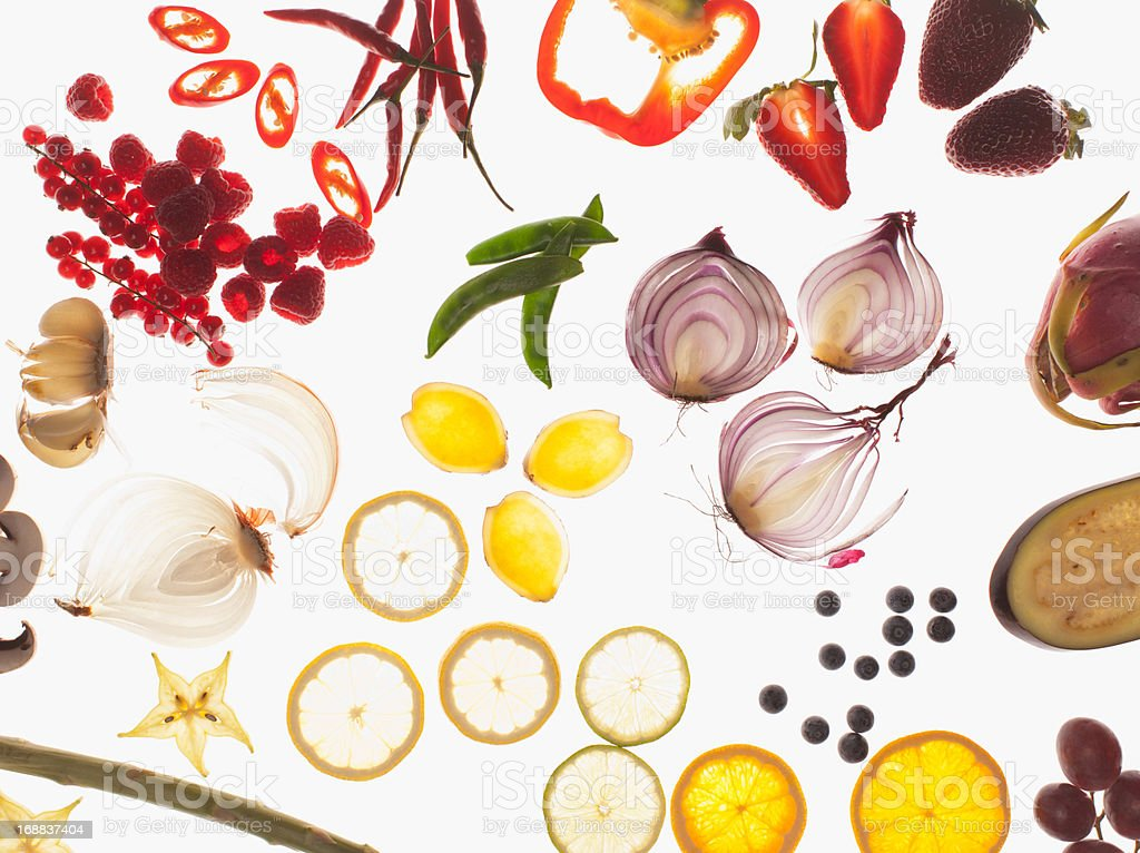 Variety of sliced vegetables stock photo