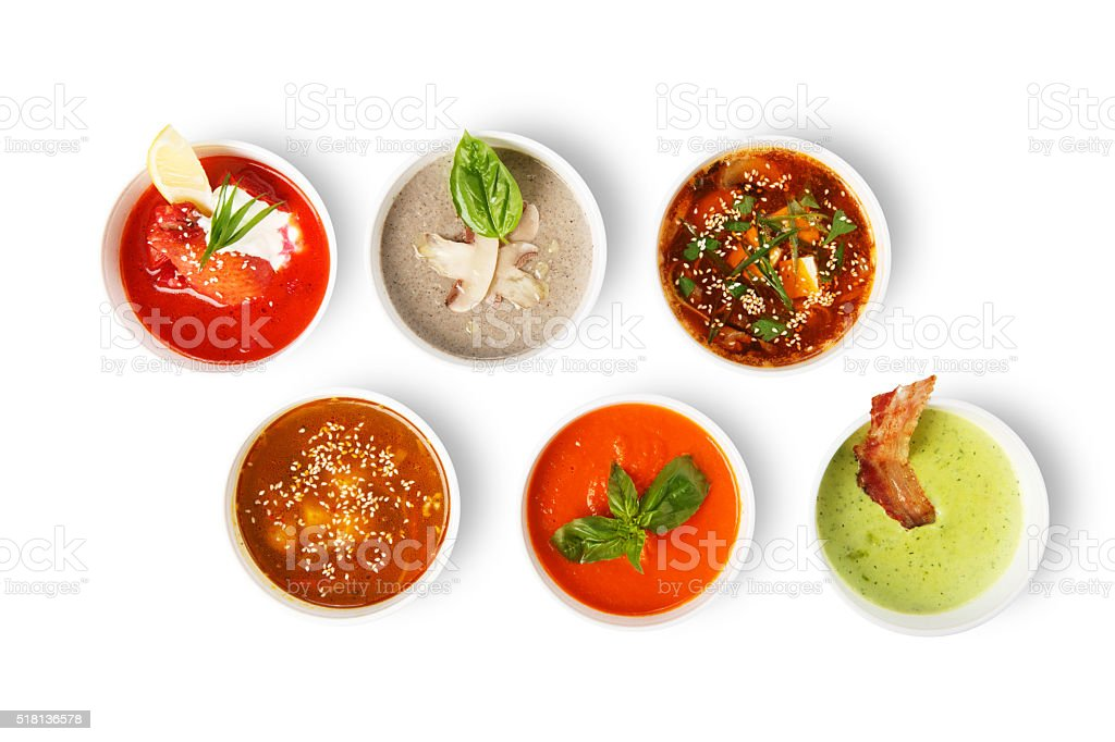Variety of soups from different cuisines stock photo