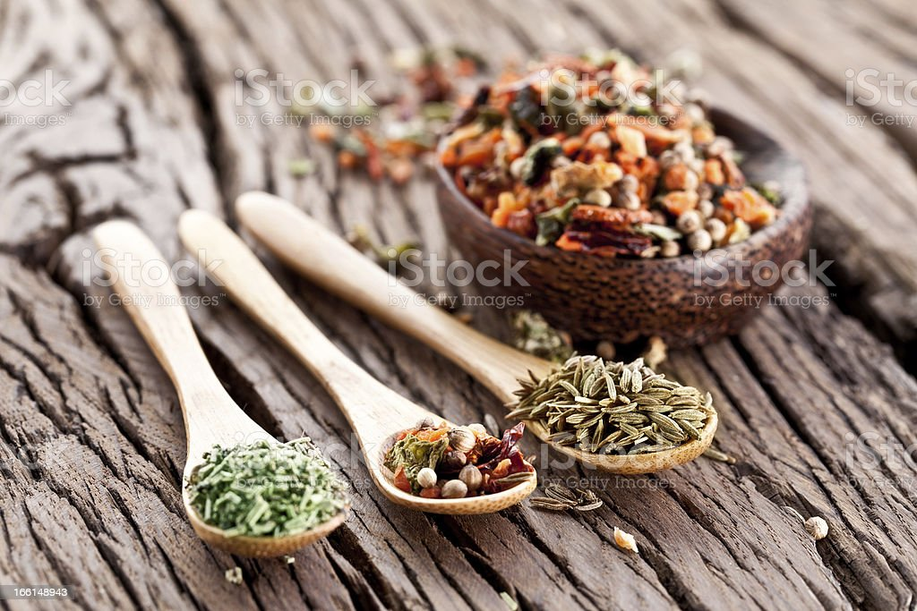 Variety of spices in the spoons. royalty-free stock photo