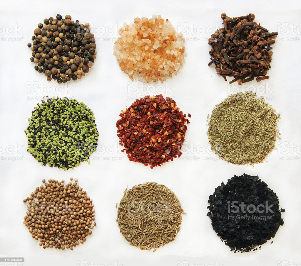 variety of spices isolated stock photo