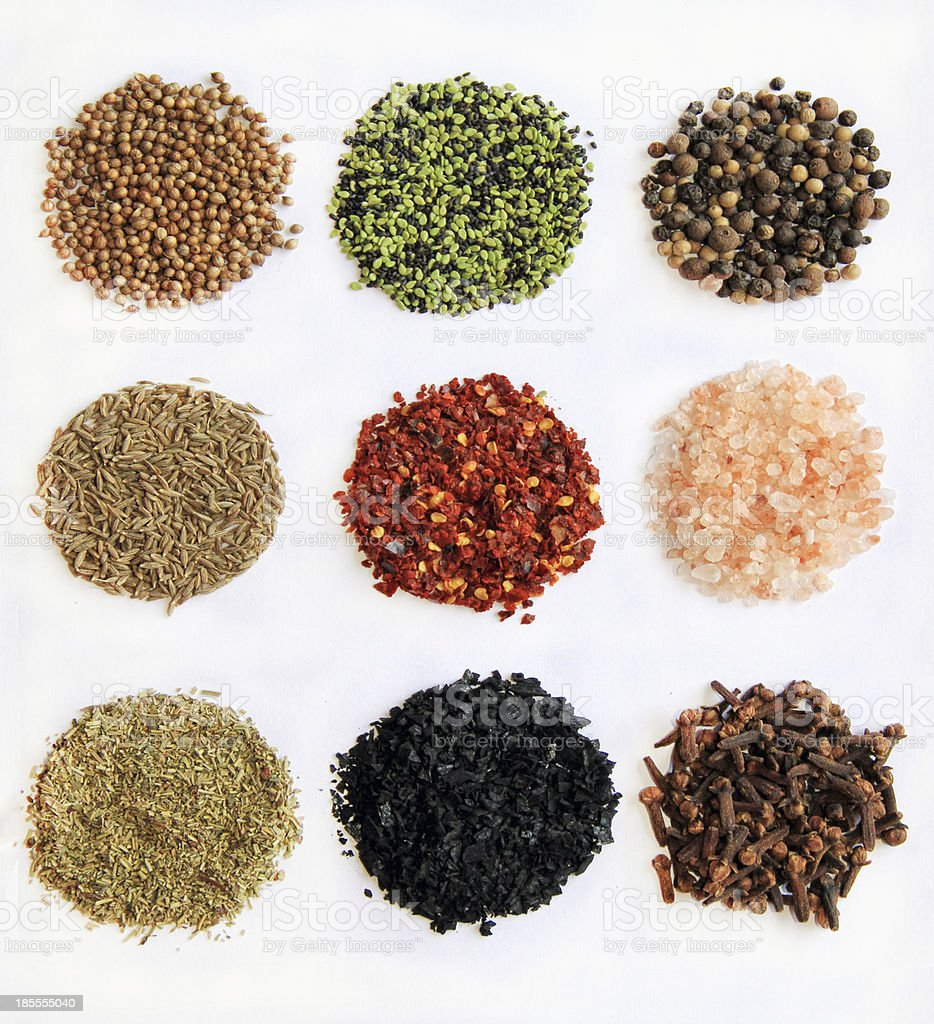 variety of spices isolated royalty-free stock photo
