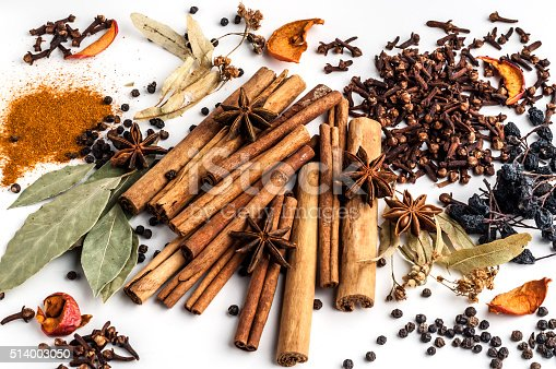 istock Variety of spices on a white background 514003050