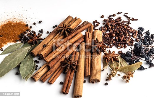 istock Variety of spices on a white background 514005458