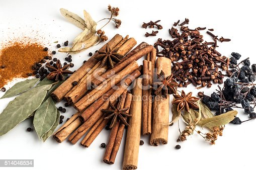 istock Variety of spices on a white background 514046534