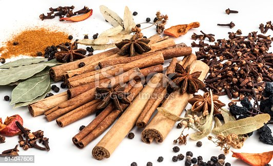 istock Variety of spices on a white background 514047606