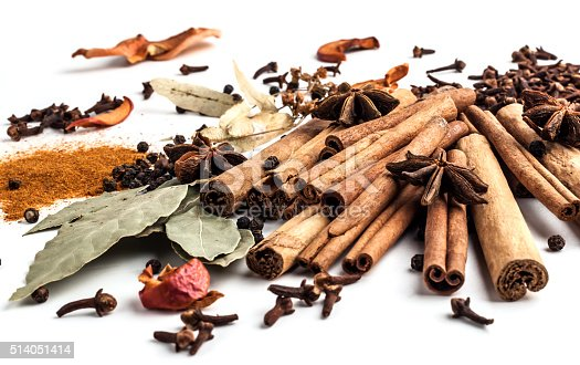 istock Variety of spices on a white background 514051414