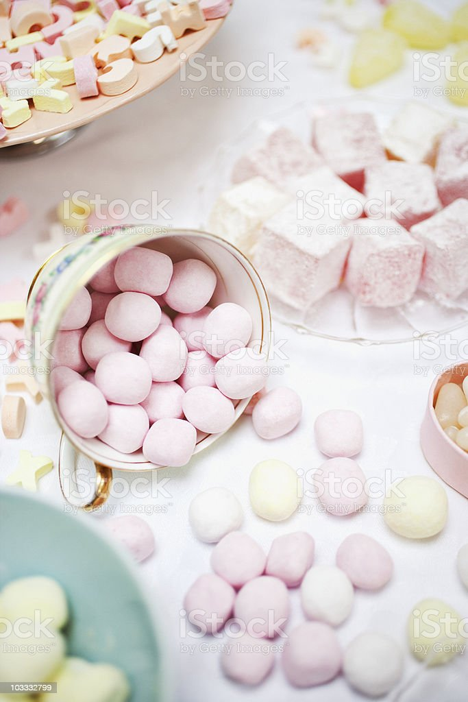 Variety of sweets in dishes on table royalty-free stock photo