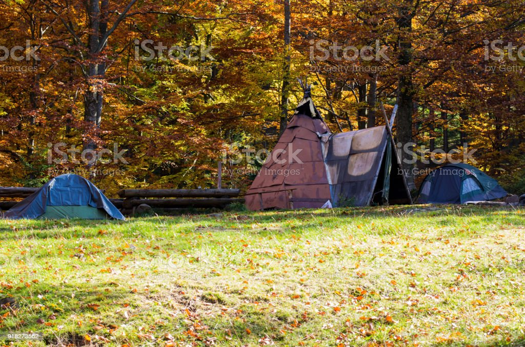 A variety of tents. Tourist tents in the forest. Homemade shelter from the rain. Homemade hut. stock photo