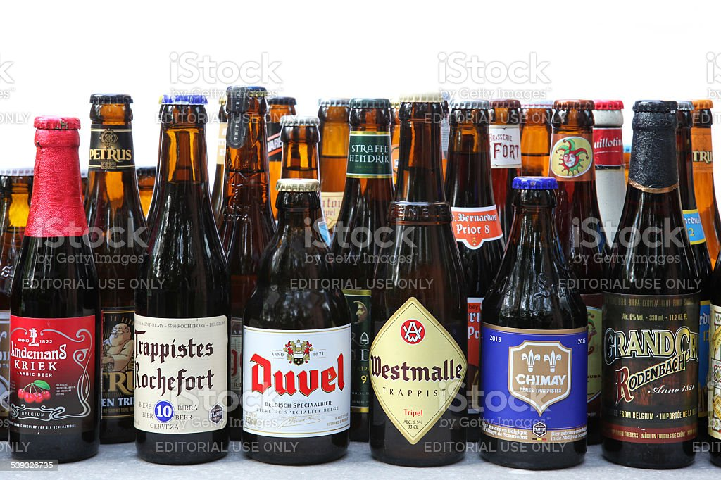 Variety of Traditional Belgian Beer in Bottles stock photo