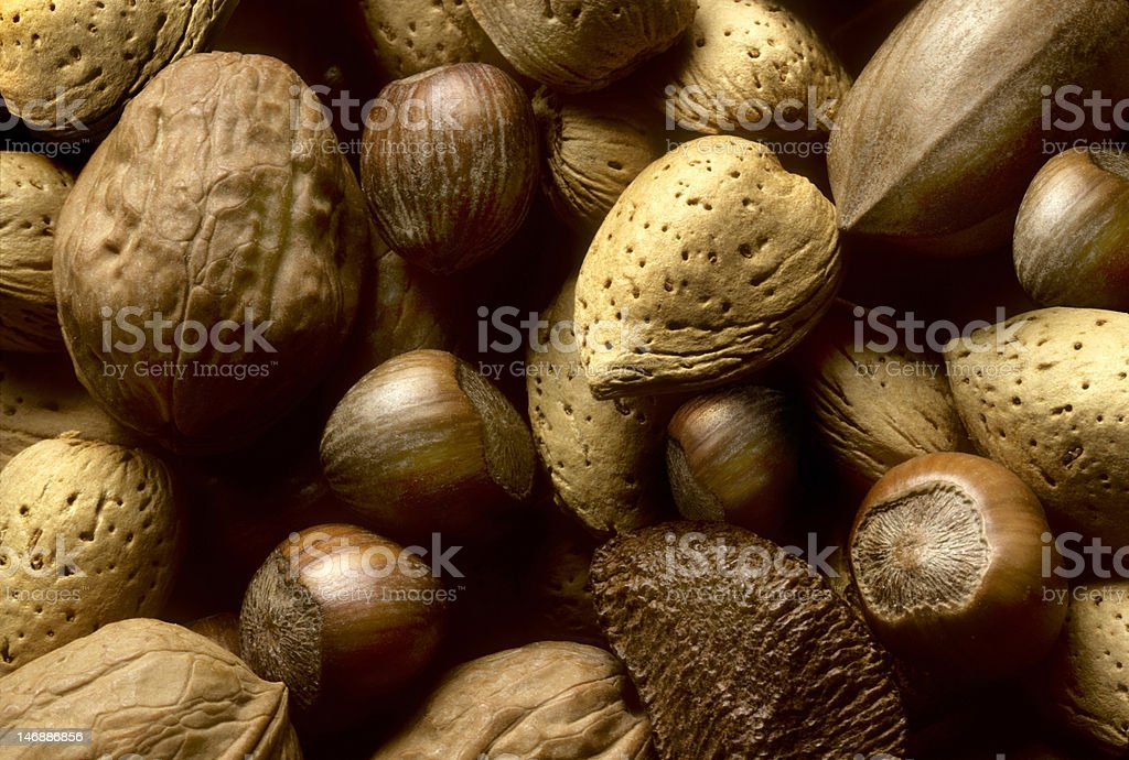 Variety of tree nuts stock photo