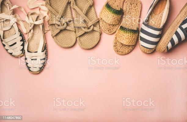 Variety of trendy summer shoes over pastel pink background picture id1148047892?b=1&k=6&m=1148047892&s=612x612&h=kfmpwu8fm3lfddrh26ii0cfkxp2x0fs2ahuhbmwcaua=