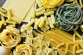 Background texture from variety of types and shapes of Italian pasta on old wooden background from above. Italian cuisine food concept and menu design. Dry pasta background. Top view. Flat lay.