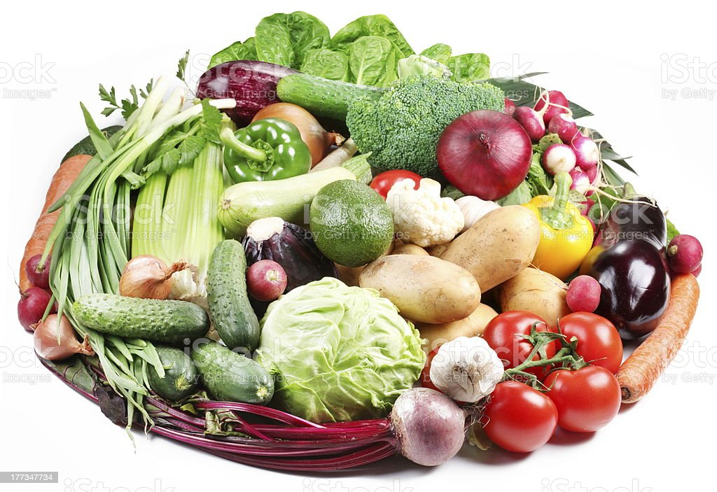 Variety of vegetables are laid out in a circle royalty-free stock photo